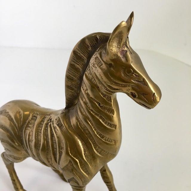 1970s Vintage Brass Zebra Statue For Sale - Image 5 of 7