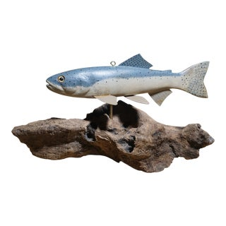 Hand Carved Steelhead Trout Decoy on Driftwood For Sale
