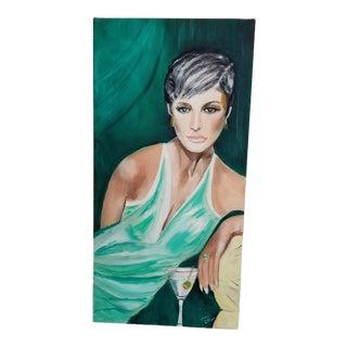 Early 21st Century Signed Jane Ellen Murray Art Deco Style Portrait Painting For Sale
