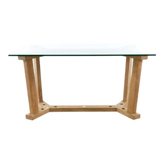 Crate & Barrel Teak and Glass Dining Table For Sale