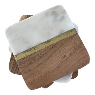 Fused Wood and Quartz Stone Coasters Set of Four For Sale