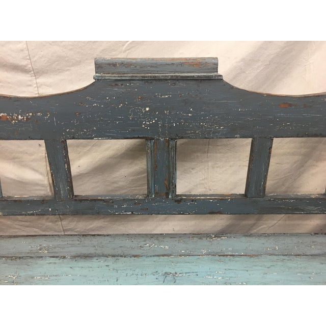 Blue 19th C Scandinavian Painted Hall Bench With Storage For Sale - Image 8 of 11