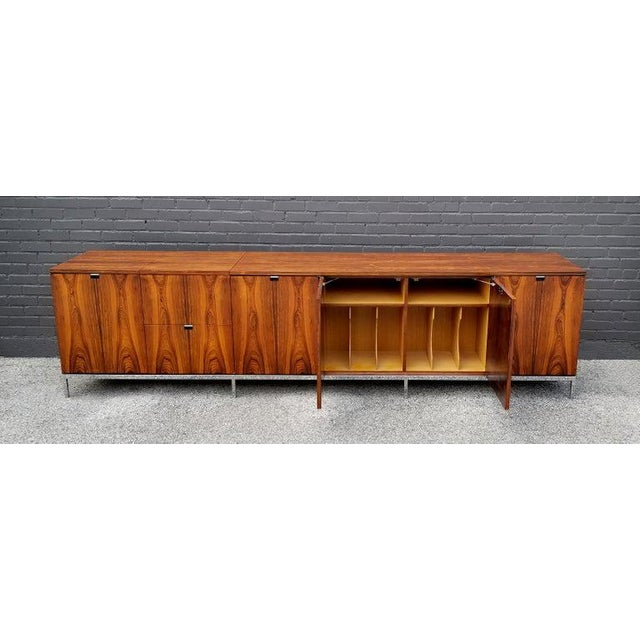 Contemporary Custom Bookmatched Brazilian Rosewood Florence Knoll Media Cabinet For Sale - Image 3 of 13