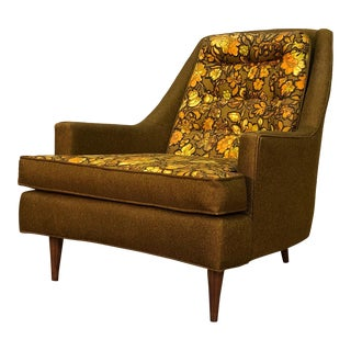 Mid-Century Modern Lounge Chair With Reversible Seat Cushion For Sale