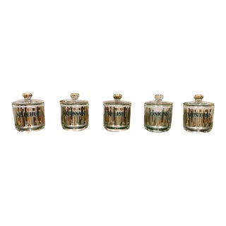 Vintage Glass Condiment Jars With Lids - Set of 5 For Sale