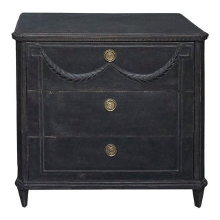 Black Swedish Three Drawer Chest With Applied Swag For Sale