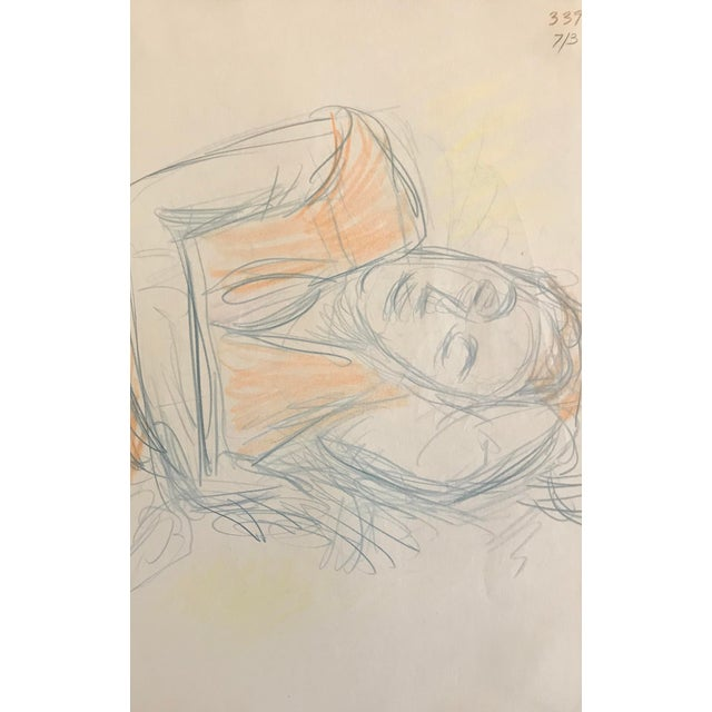 1980s Figurative Drawing of Resting Lady by James Frederic Bone For Sale