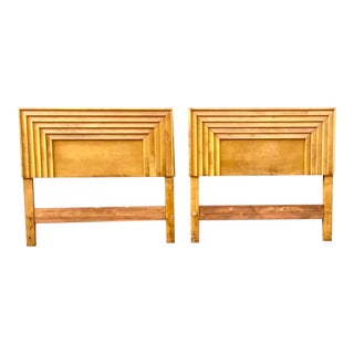 Mid-Century Channel Pattern Twin Headboards - a Pair For Sale