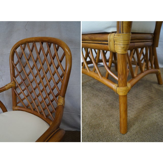 South Sea Rattan Collection Glass Top Dining Set For Sale - Image 5 of 10