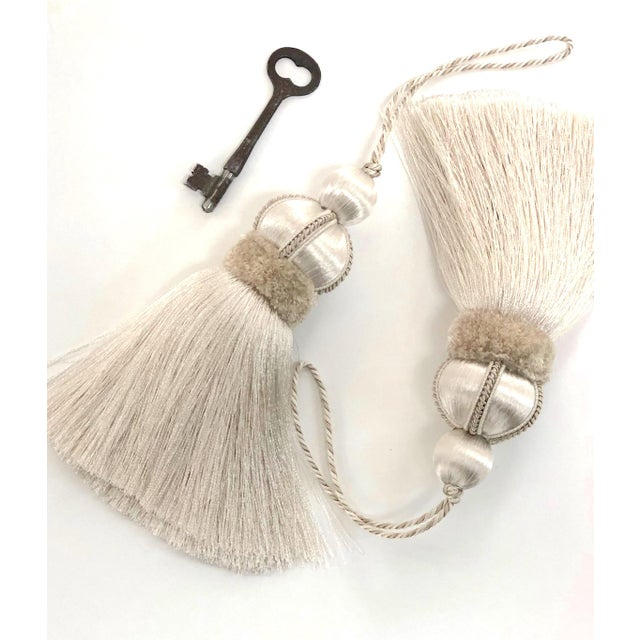 Ivory Key Tassel W Cut Velvet Ruche For Sale - Image 11 of 13
