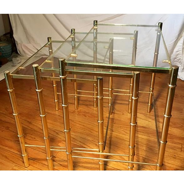 Hollywood Regency Faux Bamboo Brass & Glass Nesting Tables - S/3 - Image 6 of 6
