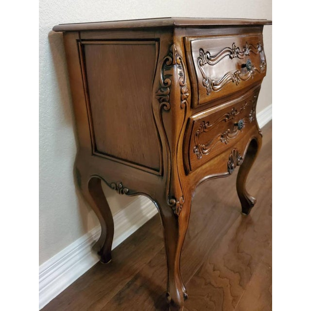 Wood Italian Louis XV Style Carved Walnut Bedside Tables - a Pair For Sale - Image 7 of 11