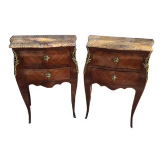 1900s French Marble Top Nightstands- a Pair For Sale
