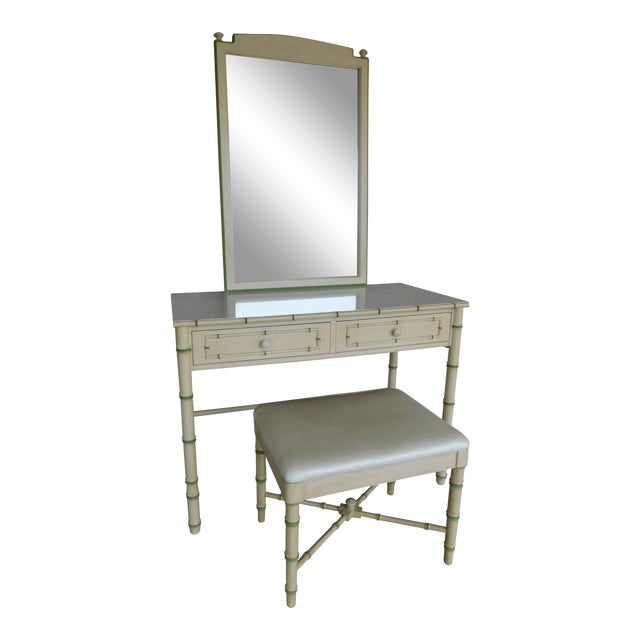 Thomasville Allegro Regency Style Faux Bamboo 3pc Vanity Mirror and Stool For Sale