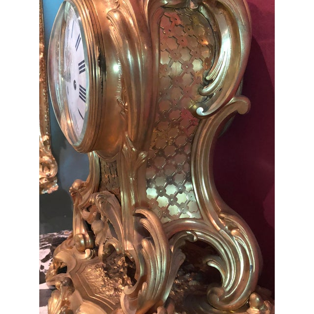 Louis XV Mid 19th Century Antique f.f. F. Barbedienne Louis XV Mantle Clock For Sale - Image 3 of 13