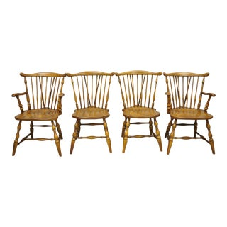 Set of 4 Pennsylvania House Rock Maple Wood Colonial Windsor Dining Chairs For Sale