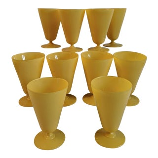 Vintage Retro Yellow Footed Glasses - Set of 10 For Sale