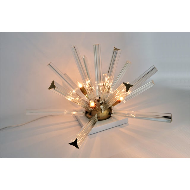 Venini Mid-Century Modern Italian Murano Glass & Brass Sputnik Table Lamp - Image 2 of 12