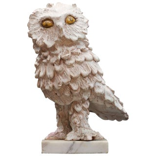 Vintage Ceramic Feathered Snow Owl Bird Sculpture on Marble Base For Sale