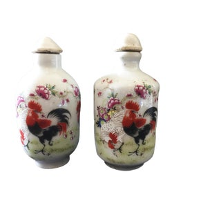 Famile Rose Porcelain Rooster Snuff Bottles - Set of 2 For Sale
