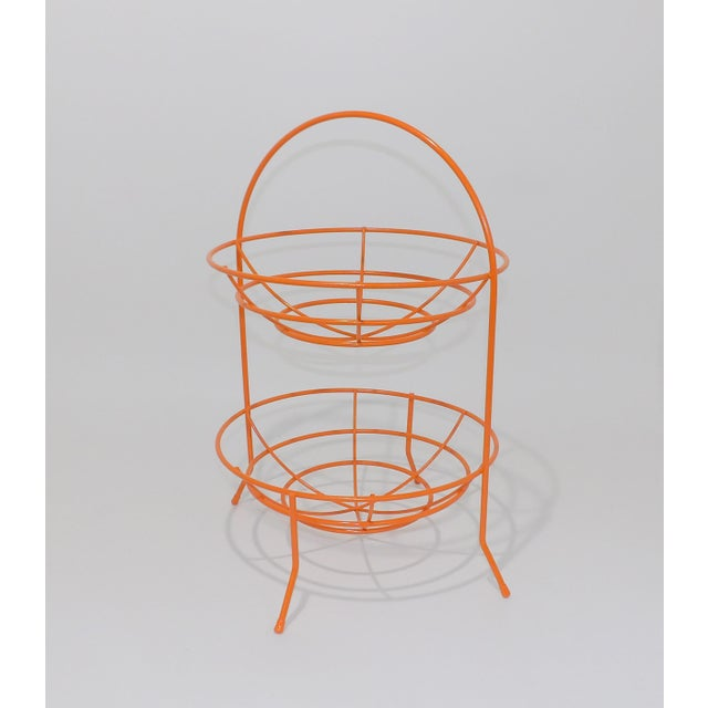 Mid-Century Orange Vintage 2 Tier Fruit or Veggie Basket For Sale - Image 4 of 8