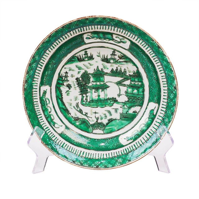 Incredible 19th Century Chinese Green Chinese Export Low Bowls Set