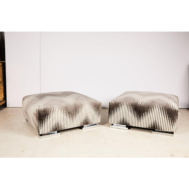 Pair of Midcentury Chrome Footed Ottomans in Jim Thompson Fabric For Sale - Image 13 of 13
