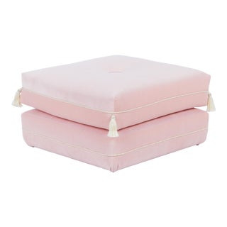 Casa Cosima Turkish Ottoman in Blush Velvet For Sale