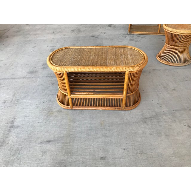 Bamboo Mid Century Italian Rattan and Bamboo Chairs and Settee- 6 Pieces For Sale - Image 7 of 11