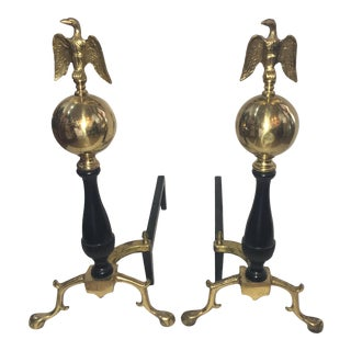 Brass & Iron Eagle Andirons - a Pair For Sale