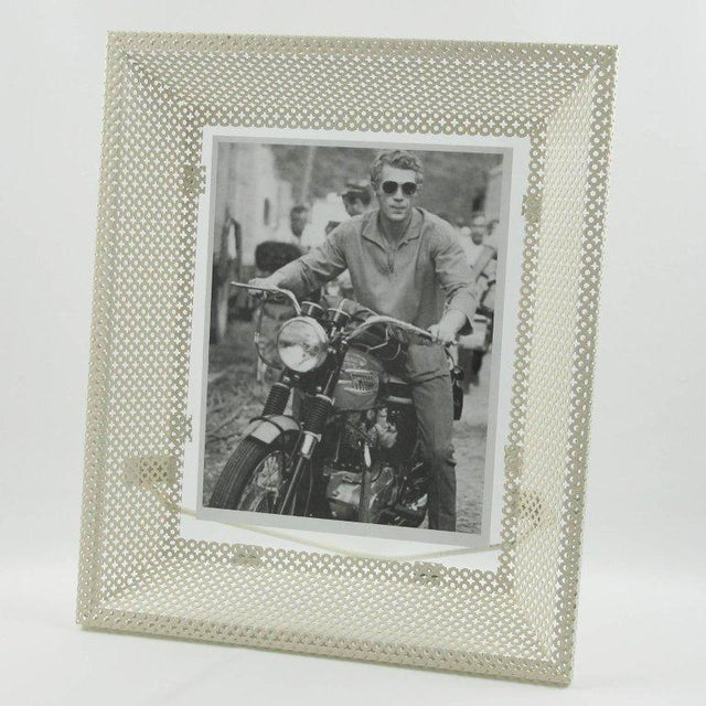 1950s Mathieu Mategot White Perforated Metal Picture Photo Frame For Sale - Image 5 of 6
