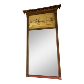1940's Vintage Federal Style Gold Chinoiserie Mirror For Sale