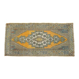 Distressed Low Pile Turkish Yastik Petite Rug Faded Bath Mat - 23'' X 42'' For Sale