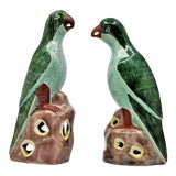 Image of Vintage Chinese Pair of Parrots Figurines - Porcelain Ceramic Glazed Tile Totem Green Bird Animal Tropical Coastal Palm Beach Boho Chic For Sale