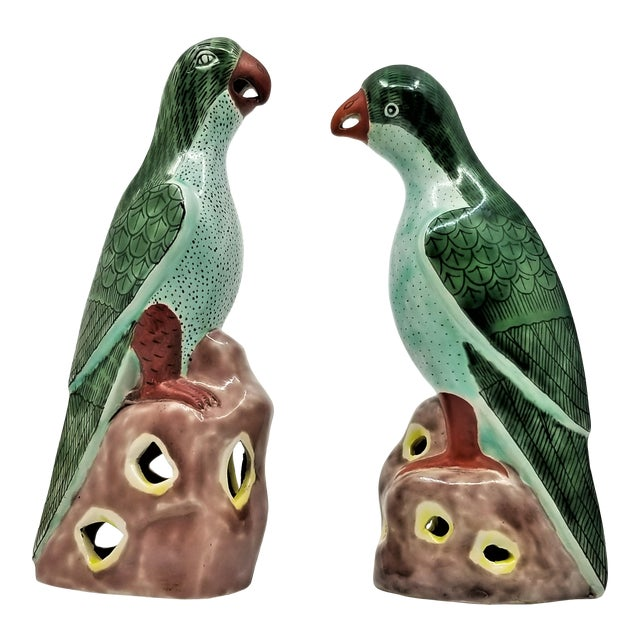 Vintage Chinese Pair of Parrots Figurines - Porcelain Ceramic Glazed Tile Totem Green Bird Animal Tropical Coastal Palm Beach Boho Chic For Sale
