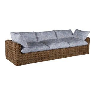 Summer Classics Montecito Sofa in Faded Linen Indigo For Sale