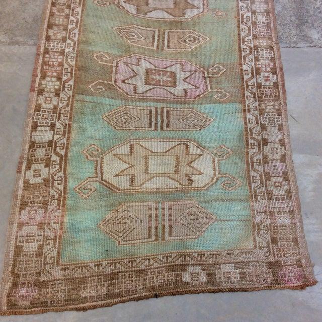 "Boho Chic Vintage Turkish Anatolian Runner Sea Green 7'9""x3' For Sale - Image 3 of 11"