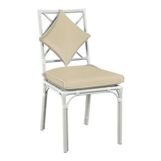 Haven Outdoor Dining Chair, Antique Beige and White For Sale