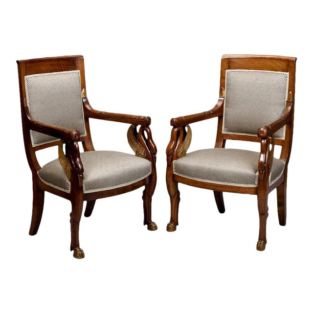 19th Century French Empire Mahogany & Parcel Gilt Chairs - A Pair - Image 1 of 9