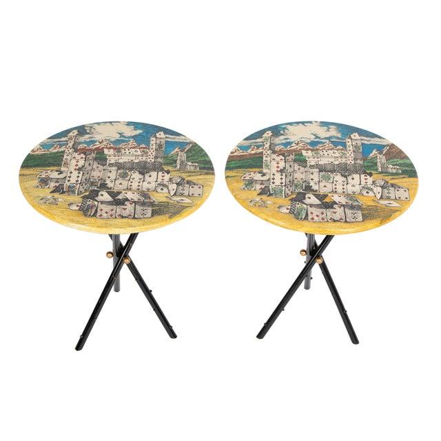 """Piero Fornasetti """"Città DI Carte"""" Side Tables, Circa 1950s - a Pair For Sale - Image 13 of 13"""