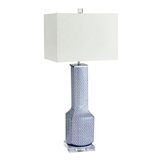 Kenneth Ludwig Chicago Blue & White Ceramic Lamp For Sale