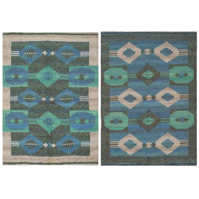 Vintage Double-Sided Swedish or Scandinavian Deco Kilim For Sale