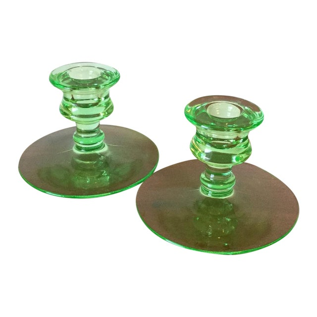 Art Deco Green Uranium Glass Candleholders For Sale