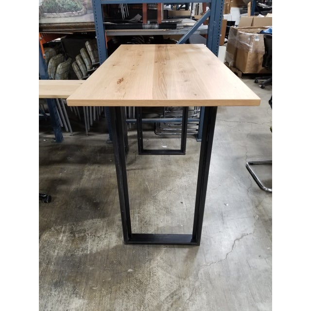 Industrial table is made of oak wood veneer wood and black, metal, O-legs. This table is perfect for work, dinning or...