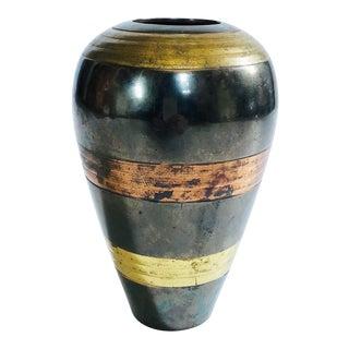 Vintage Striped Brass and Copper Vase For Sale