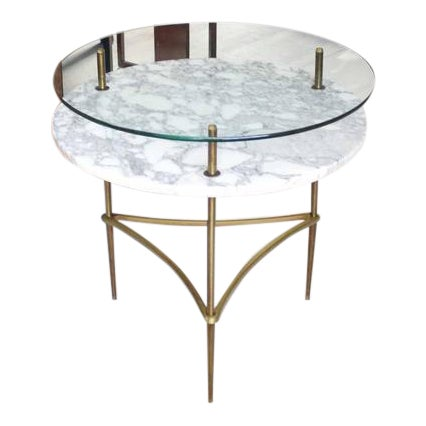 Two Tier Brass Marble & Glass Top Occasional Table For Sale