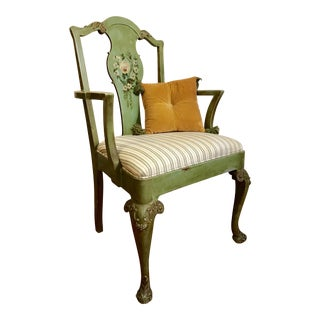 Early 20th Century Hand Painted Green Carved Chair For Sale