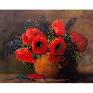Red Poppies in a Vase Still Life Print by Max Theodor Streckenbach For Sale