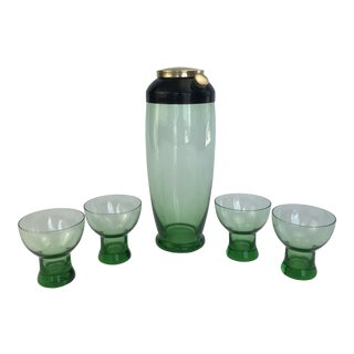 1940's Green Glass Cocktail Shaker and Matching Glasses - 5 Pieces For Sale