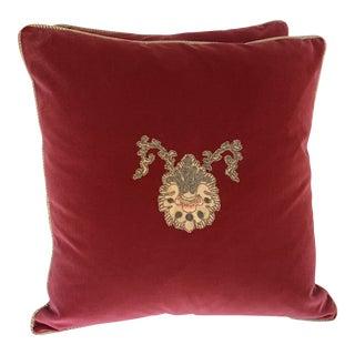 Pair of Appliqué Pillows by Melissa Levinson For Sale